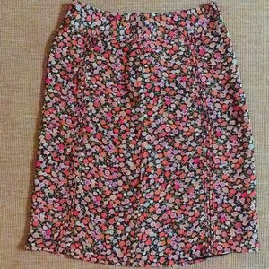 GAP brown fall floral pencil skirt size 2 small